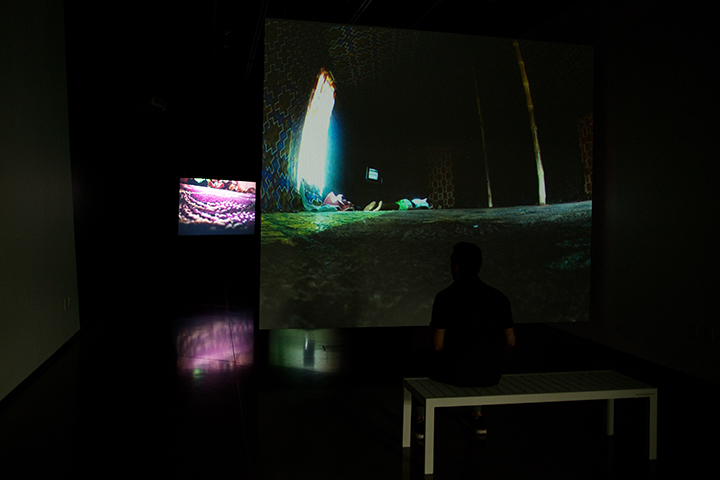 Four screen installation with octophonic sound at the MSU Broad Art Museum, USA, 2016.
