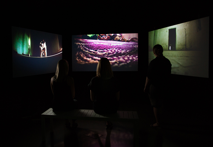 Three screen interior installation at the MSU Broad Art Museum, USA, 2016.